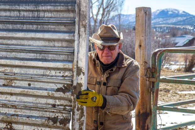 John Nieslanik holds open the trailer door while Parker and his dad Marty transfer a new calf and its mother from their ranch to a holding pen on the river bottom property with the rest of the herd.