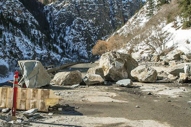 The westbound lanes of I-70 in Glenwood Canyon were blocked by large boulders in February, closing the road completely for nearly a week, the longest I-70 closure ever in Colorado.