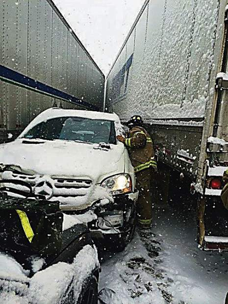 This is a scene from a multivehicle chain reaction of accidents on April 5 east of Silverthorne, one of the top five spots for closures on I-70 between Denver and the Utah border.