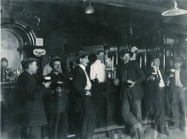 Sheridan's Saloon at 718 Cooper Ave. did a bustling business in about 1914-1915.