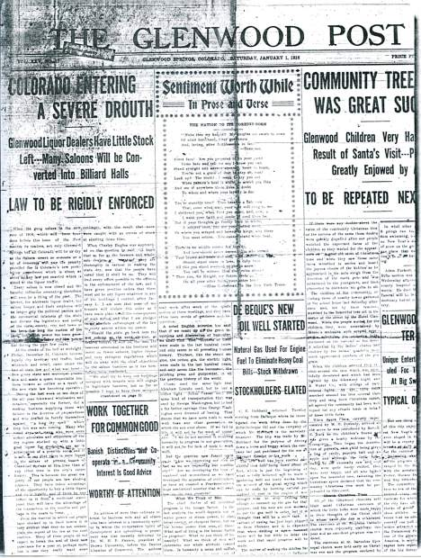 This front page of the Glenwood Post from Jan. 1, 1916, trumpets the dawn of Prohibition in Colorado.