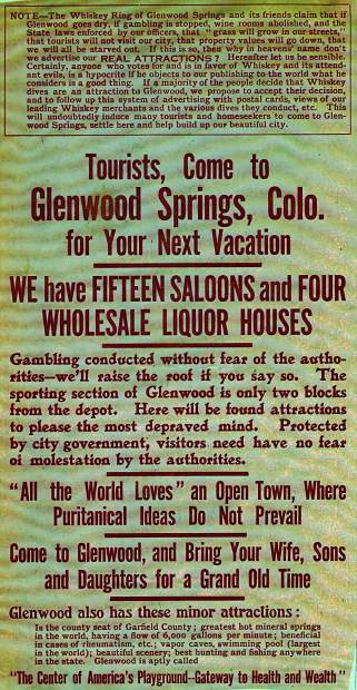 This flier appears to take a sarcastic tone toward early Glenwood's prolific vice.
