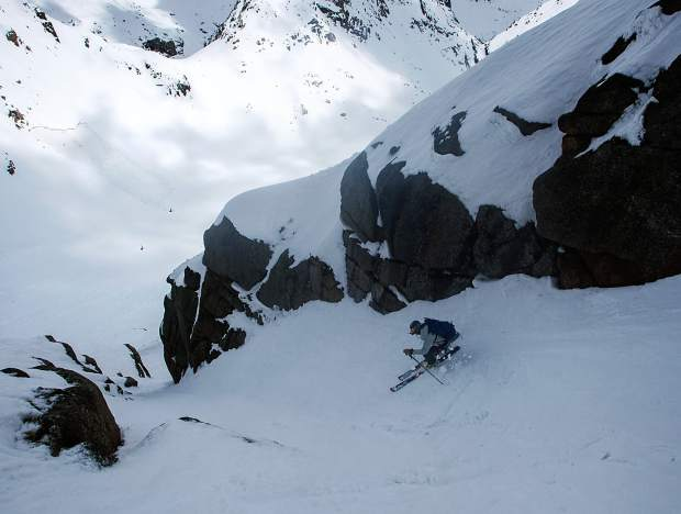 Chris Davenport skis the Jagged Couloir, the only viable ski line off Jagged Mountain, a 13er in the Needle Mountain Range. Davenport and others recently came together in Aspen to talk about their experiences in the dangerous high alpine.