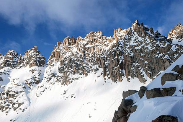 Views of a knife-like ridgeline and couloir (far left) on Jagged Mountain, one of 100 Colorado 13ers that Aspen mountaineer Chris Davenport skied in the past few years. Davenport and others recently came together in Aspen to talk about their experiences in the dangerous high alpine.