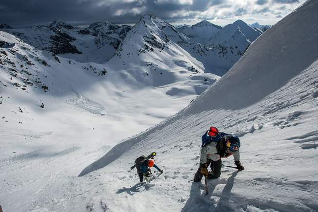 Christy Mahon (left) and Chris Davenport climb to the summit of Jagged Mountain while completing the last of the Centennial Peaks (a collection of 100 summits at 13,000 feet) in May. Davenport and others recently came together in Aspen to talk about their experiences in the dangerous high alpine.