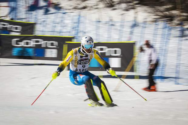 First place finisher Andre Myhrer charges down the slalom course Sunday during World Cup Finals.