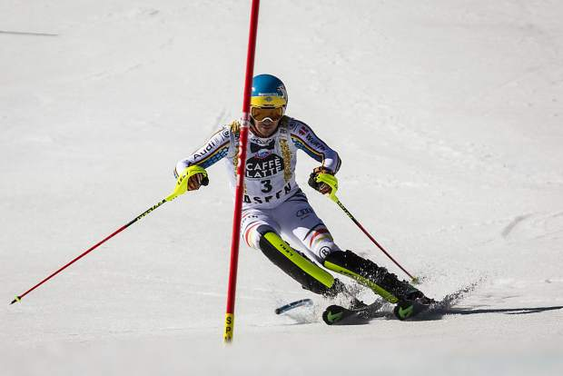 Second place finisher Felix Neureuther charges down the slalom course Sunday during World Cup Finals.