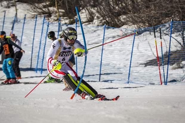 Third place finisher Michael Matt charges down the slalom course Sunday during World Cup Finals.