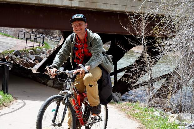 A bike rider got fresh air Monday in Glenwood Springs.