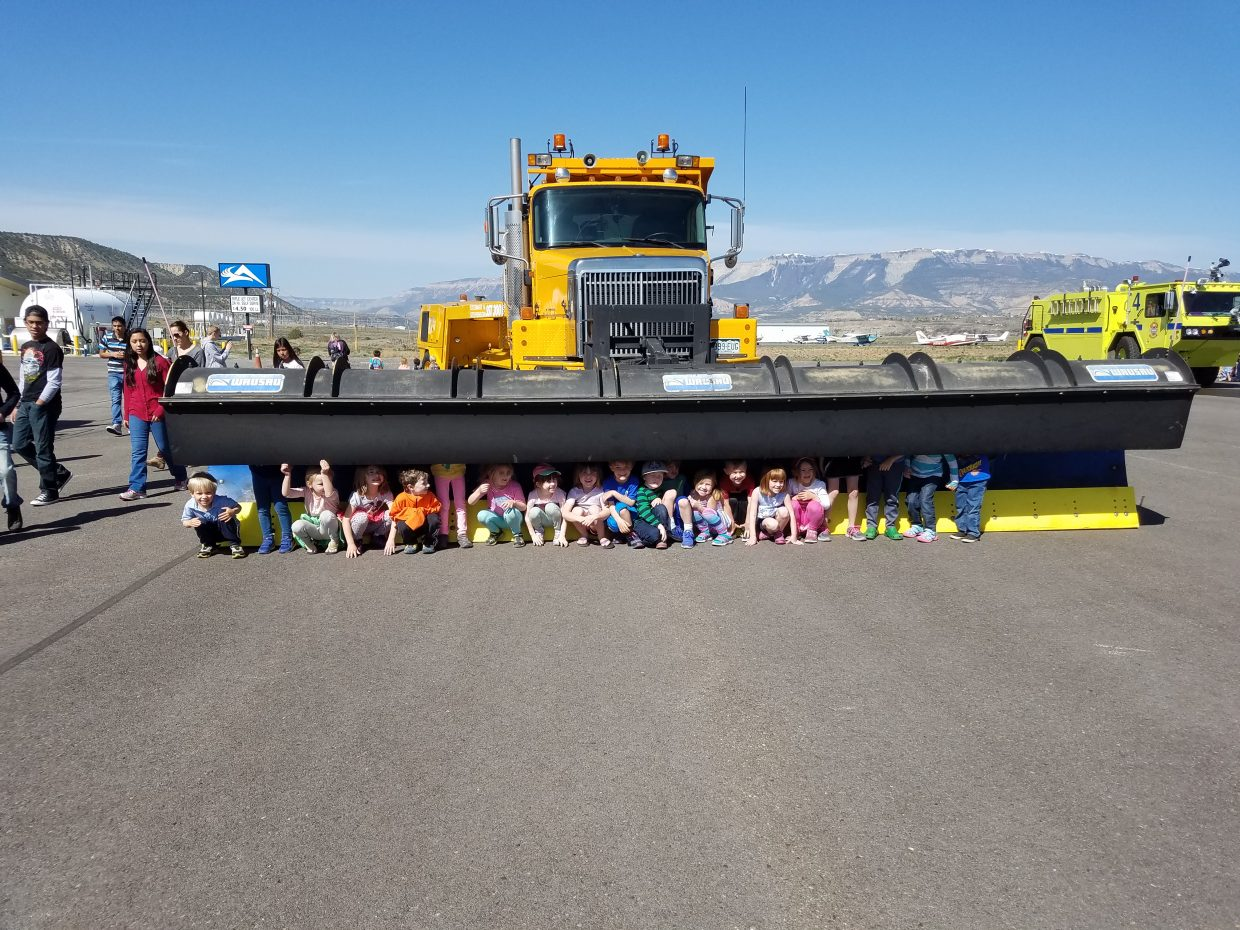 Once a year elementary students throughout Garfield County get to spend a day at Rifle Garfield County Airport learning about planes and what makes them fly. Airport Operations showed the kids the giant snow removal equipment used to used to plow the runway.