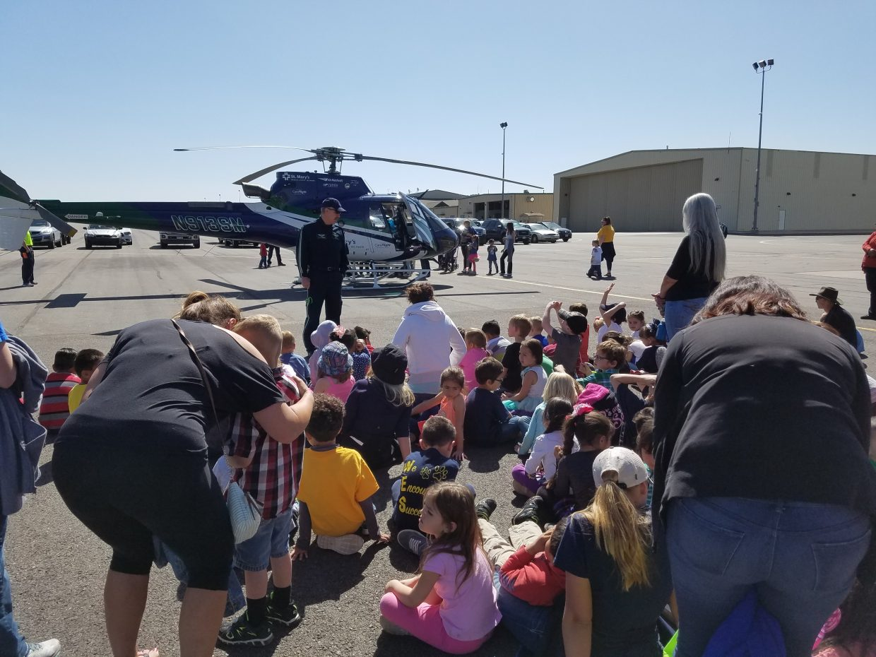 Saint Mary's care flight team made an appearance and landed the helicopter right in front of the students.
