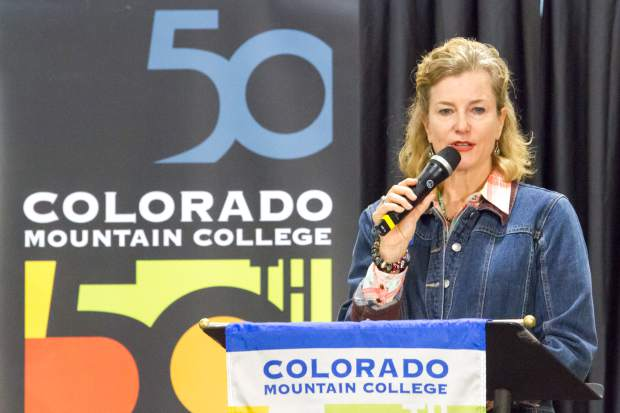 Colorado Mountain College President and CEO Carrie Besnette Hauser gives opening remarks during the Spring Valley campus 50th anniversary celebration.