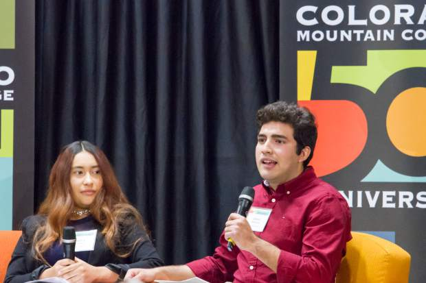 Jesse Monsalve, right, tells his CMC story and gives thanks to Jim Calaway and Bob Young for their support by providing the Calaway and Alpine Bank scholarship funds.