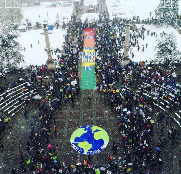 Anders Carlson captured this image of the People's Climate March in Denver on Saturday using a drone. He is a Colorado Rocky Mountain School alum and son of Rick and Lorrie Carlson of Glenwood Springs, who marched at the national rally in Washington, D.C.