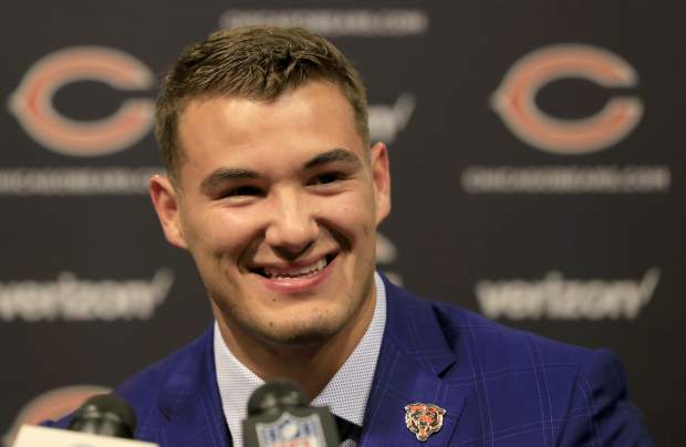 Chicago Bears' first round draft pick quarterback Mitchell Trubisky, from North Carolina, smiles during an NFL football news conference Friday, April 28, 2017, in Lake Forest, Ill. (AP Photo/Charles Rex Arbogast)