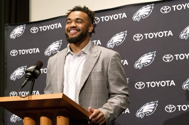 Philadelphia Eagles first round draft pick Derek Barnett smiles during a news conference at the NFL football team's training complex, Friday, April 28, 2017, in Philadelphia. Barnett, defensive end at Tennessee, was selected 14th overall. (Ed Hille/The Philadelphia Inquirer via AP)