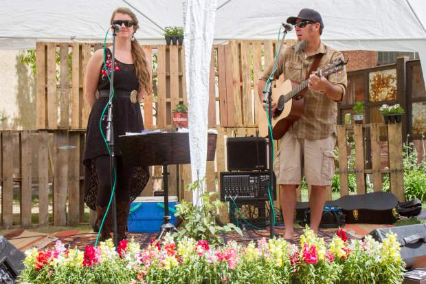 A local band plays at the Earth Day Celebration in Centennial Park on Saturday afternoon.