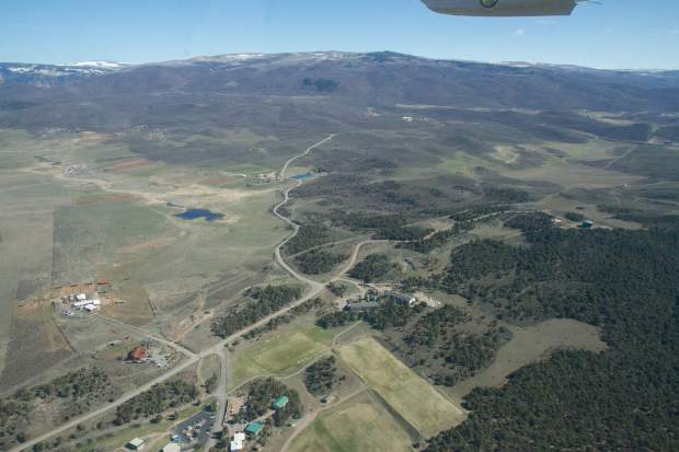 This aerial shows the Colorado Mountain College Spring Valley property in the bottom center and directly to the top left is the Powers family land.