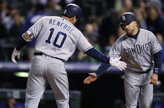 San Diego Padres' Hunter Renfroe, left, s congratulated as he crosses home plate after hitting a two-run home run by Ryan Schimpf in the sixth inning of a baseball game against the Colorado Rockies late Monday, April 10, 2017, in Denver. The Padres won 5-3. (AP Photo/David Zalubowski)
