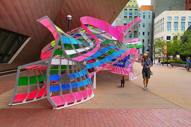 The original iteration of Motio was a Denver Art Museum commission. The sculpture, which fuses 84 stick-figure forms together, depicts the human body in motion. Motio 1.0 included ribbon woven through the statue. Motio 2.0, to be installed in Basalt this summer, will be five sculptures in different colors and locations throughout the town.