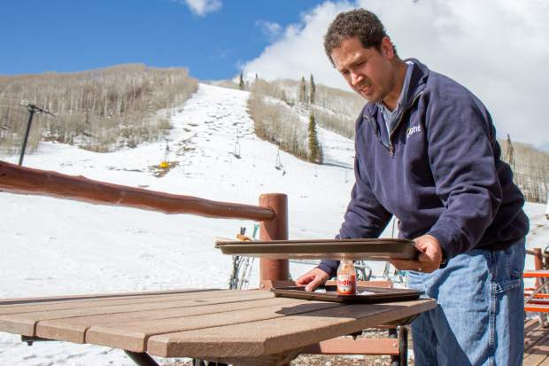 Chris McCullough spent the winter season working at the lodge at Sunlight Mountain Resort. This was his 17th season busing tables for Sunlight.