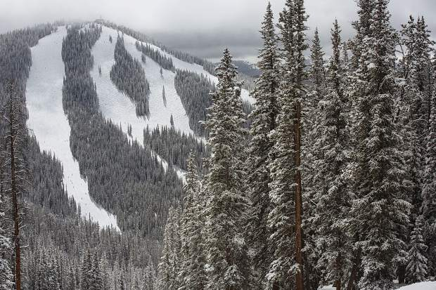 Keystone Resort is Colorado's third-most visited ski area, with an estimated 1.2 millon annual skier days. Pictured here, the veiw of its North Peak the morning after a fresh blanket of snow in late March.