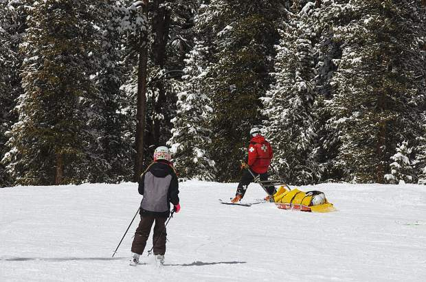 Ski Patrol at Keystone Resort tows an injured rider down the hill. The ski area has not had a death this season, but represents 38 percent of Summit County's 58 total fatalities since the 2006-07 season.