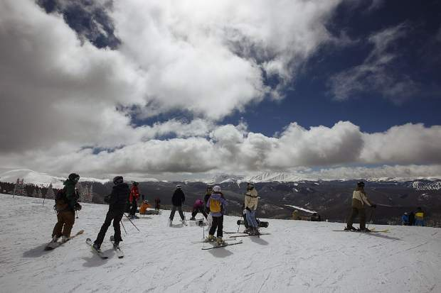 Skiers and snowboarders on Outback Mountain at Keystone Ski Resort on March 29, 2017.