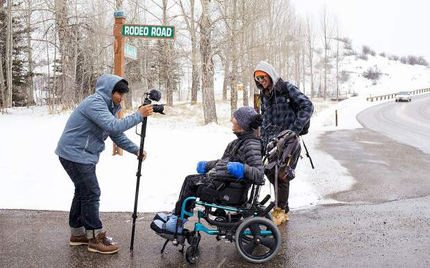 Grangein Snowmass Village with the film crew for