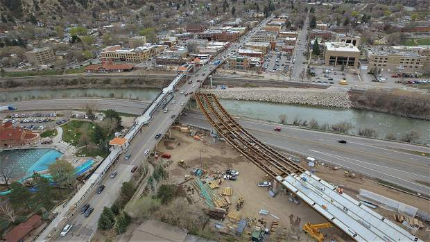 This shot by Greg DeRosa of Premier Aerials shows deck work already being done on the new Grand Avenue traffic bridge.
