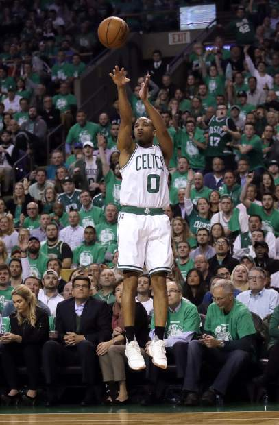 Boston Celtics guard Avery Bradley launches a three point shot during the first quarter of Game 7 of a second-round NBA basketball playoff series against the Washington Wizards, Monday, May 15, 2017, in Boston. (AP Photo/Charles Krupa)