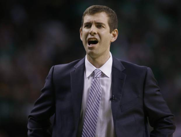 Boston Celtics head coach Brad Stevens shouts from the sideline during the first quarter of Game 7 of a second-round NBA basketball playoff series against the Washington Wizards, Monday, May 15, 2017, in Boston. (AP Photo/Charles Krupa)