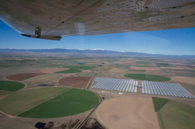 A field of solar panels near the town of Center, Colorado.