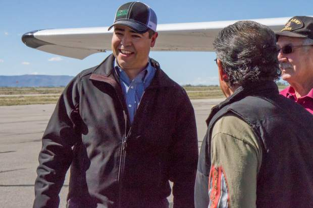 Colorado State Representative Donald Valdez speaks with veterans and members of Conejos Clean Water after taking a flight over Alamosa on the first annual Colorado Public Lands Day.