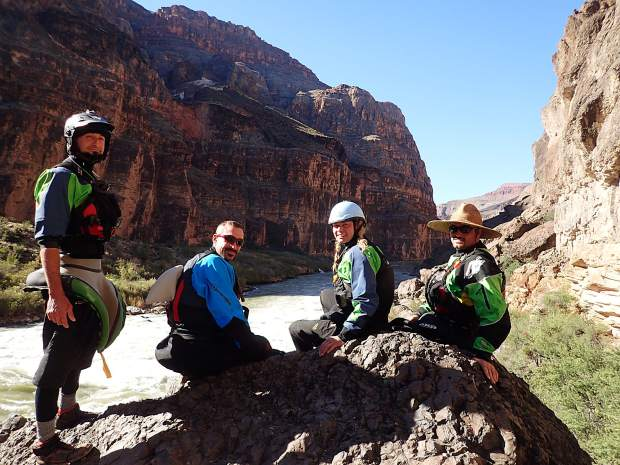 The author (second from right) with members of her group during a 24-day float trip through the Grand Canyon. For most of the 277-mile journey, the group had no cell phone service or access to the world outside the canyon's walls.