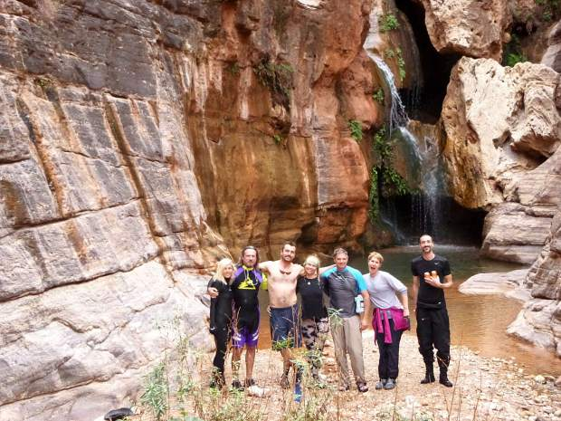 Colorado Escapist Shawna Henderson, center, and her group during a 24-day float trip through the Grand Canyon on the Colorado River. A multi-day float trip through the 277-mile canyon gives kayakers, rafters and anyone else a much-needed escape from the demands of