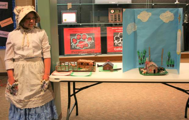 The exhibits included interactive maps, artifacts, skits, poetry, journal entries, and historical fiction writings on people who impacted western expansion. The exhibits included interactive maps, artifacts, skits, poetry, journal entries, and historical fiction writings on people who impacted western expansion. Pioneer exhibit professional Meridian Hamblin explains where settlers lived any why.
