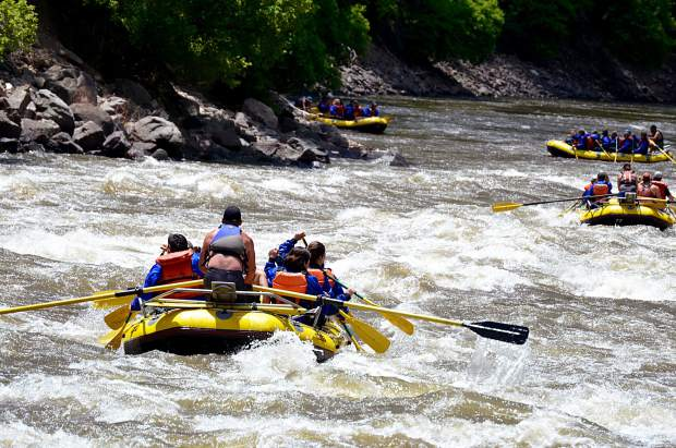 Some early season rafting trips were running Shoshone in pods of four or five, with the water running at an ideal level below the commercial cutoff level.