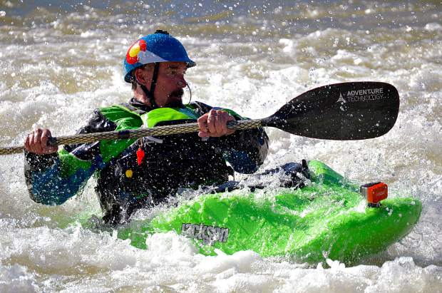 This kayaker hit the West Glenwood play wave early in May in lower water conditions.