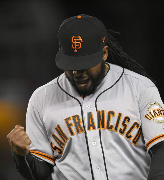 San Francisco Giants starting pitcher Johnny Cueto celebrates as he gets out of the seventh inning of a baseball game against the Los Angeles Dodgers, Monday, May 1, 2017, in Los Angeles. (AP Photo/Mark J. Terrill)