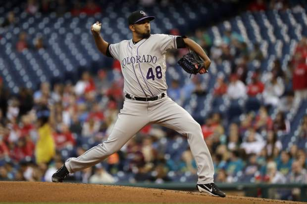 Colorado Rockies' German Marquez pitches during the first inning of a baseball game against the Philadelphia Phillies, Tuesday, May 23, 2017, in Philadelphia. (AP Photo/Matt Slocum)