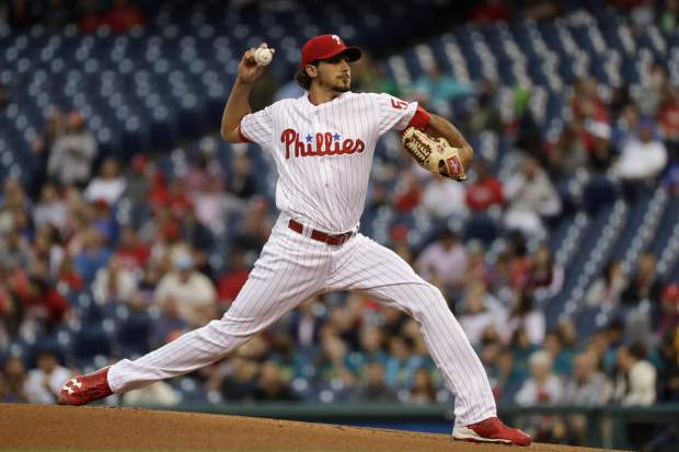Philadelphia Phillies' Zach Eflin pitches during the first inning of a baseball game, Tuesday, May 23, 2017, in Philadelphia. (AP Photo/Matt Slocum)