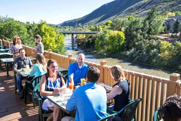 Enjoy a view of the Roaring Fork River at Rivers restaurant in Glenwood Springs.