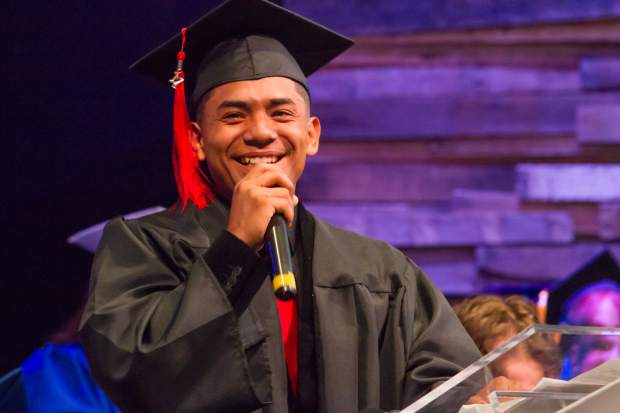 Joni Perdomo sends a special thanks and shout-out to his mom at the Yampah Mountain High School class of 2017 commencement ceremony.