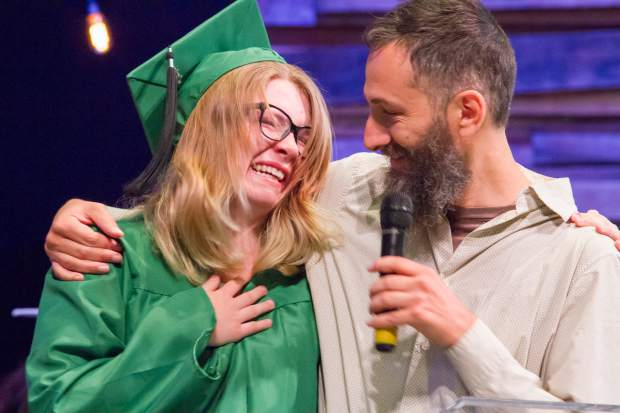 Mary Esbeck receives her diploma from student advisor Ben Green at the Yampah Mountain High School class of 2017 commencement ceremony, held Friday morning at the Orchard church in Carbondale.