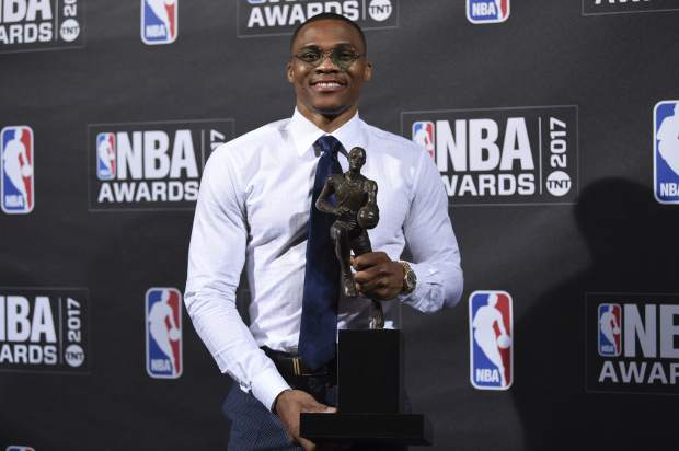 Kia NBA Most Valuable Player, Best Style & Game Winner Award winner, Russell Westbrook, poses in the press room at the 2017 NBA Awards at Basketball City at Pier 36 on Monday, June 26, 2017, in New York. (Photo by Evan Agostini/Invision/AP)