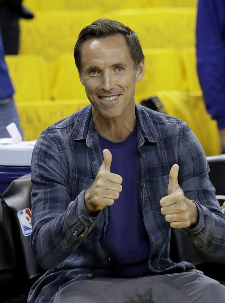 Steve Nash gestures before Game 5 of basketball's NBA Finals between the Golden State Warriors and the Cleveland Cavaliers in Oakland, Calif., Monday, June 12, 2017. (AP Photo/Marcio Jose Sanchez)