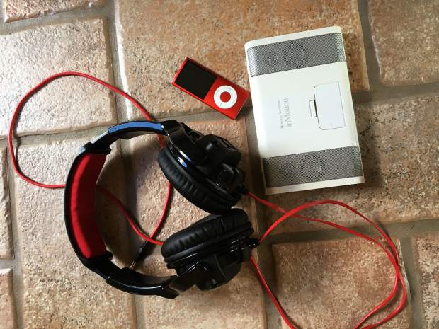 A pair of the all-in-one headphones that the local Alive Inside chapter was able to obtain through a grant. The devices are loaded with personalized music for local nursing home residents.