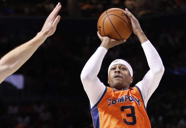 3's Company player/captain and coach Allen Iverson (3) takes a three-point shot during the first half of Game 3 in the BIG3 Basketball League debut, Sunday, June 25, 2017, at the Barclays Center in New York. (AP Photo/Kathy Willens)