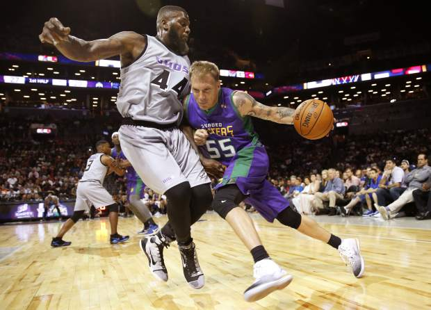 3 Headed Monsters Jason Williams (55) drives up against Ghost Ballers Ivan Johnson (44) during the first half of Ganme 1 in the BIG3 Basketball League debut, Sunday, June 25, 2017, at the Barclays Center in New York. (AP Photo/Kathy Willens)